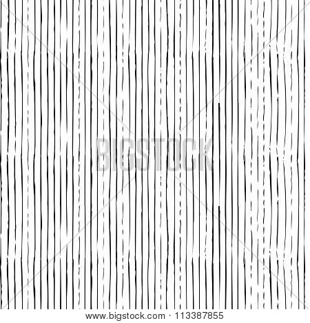 Vector Seamless Pattern Of Vertical Thin Brush Strokes.