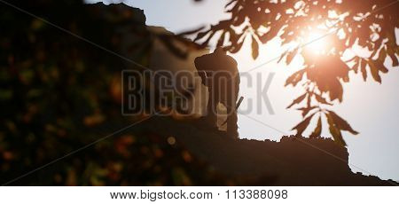 Black Silhouette Of Worker Man