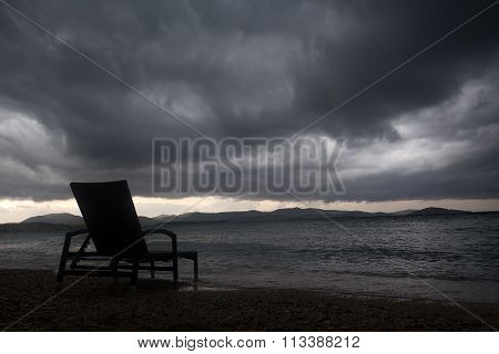 Chaise Lounge On Beach
