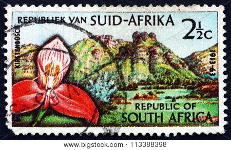 Postage Stamp South Africa 1963 Red Disa Orchid