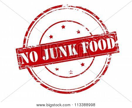Rubber stamp with text no junk food inside vector illustration