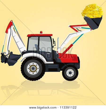 Red and white big digger builds roads on yellow. Digging of golden coins.
