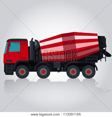 Red and white concrete mixer.