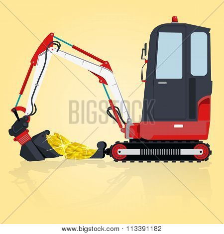 Red and white small digger builds roads, loads golden coins.