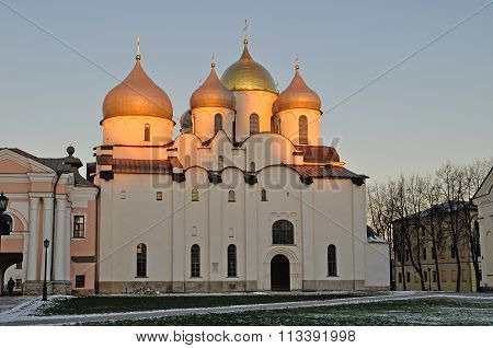 Cathedral Of Saint Sophia In Veliky Novgorod, Russia - Sunset Landscape