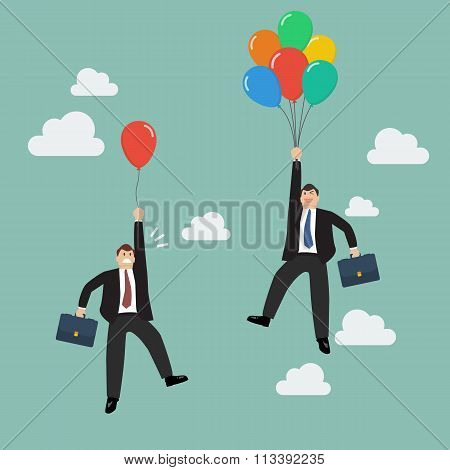Businessman With Colorful Balloon Fly Pass Businessman With Red Balloon