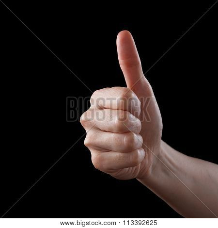 Approval Thumbs Up Like Sign As Caucasian Hand Gesture Isolated Over Black