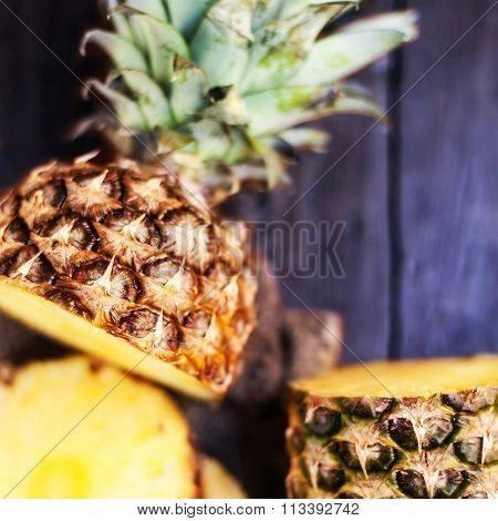 Pineapple Tropical Fruit Or Ananas With Circle Slices Over Wooden Background..