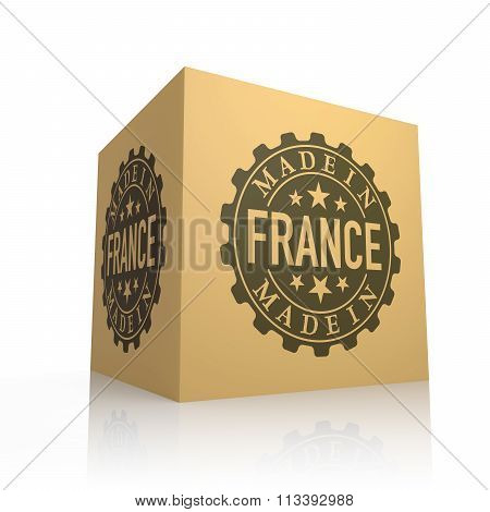 3D Render Of Cardboard Box With Made In France