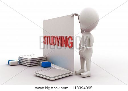 3D Man Presenting A White Board With Studying Text Displayed- Pen /pencil Eraser And Note Files On T