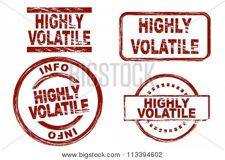 Set of stylized ink stamps showing the term highly volatile