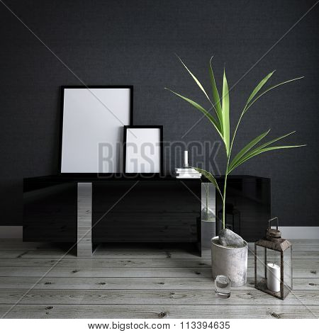 Modern Home Decor Detail with Copy Space - Blank Picture Frames on top of Black Desk with Stack of Books and Potted Plant in Room with Dark Gray Wall and Wood Floor
