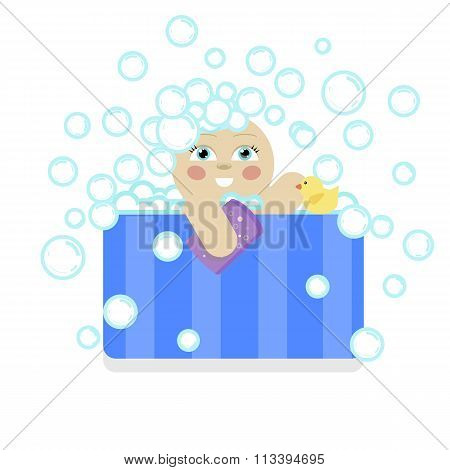 baby child bathing in a bath with foam and bubbles. shampoo washes his head with a washcloth and duc