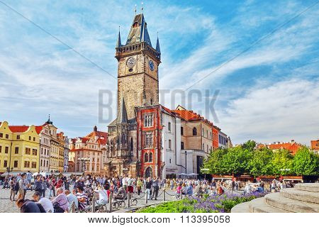Prague,czech Republic- September 13, 2015:astronomical Clock(staromestske Namesti)on Historic Square