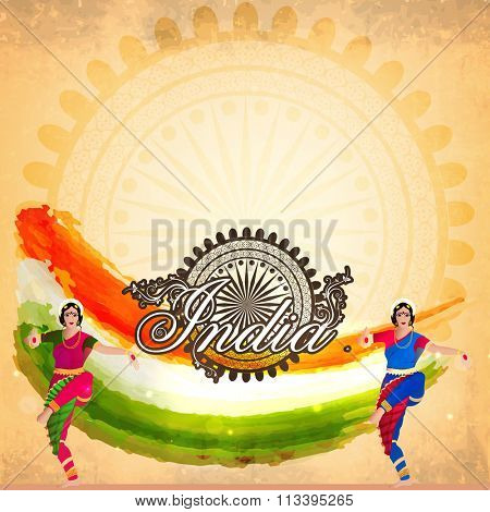 Illustration of beautiful classical dancers on tricolour paint strokes and Ashoka Wheel decorated background for Happy Indian Republic Day celebration.