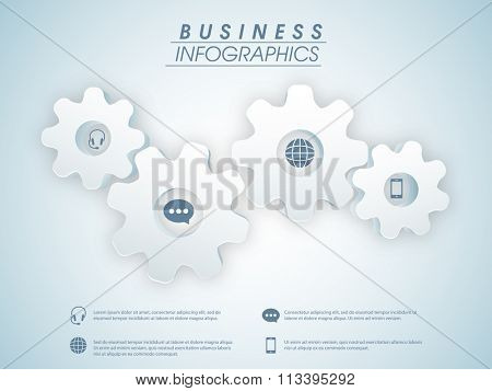 3D cog wheels infographic elements with web symbols on shiny background for Business purpose.
