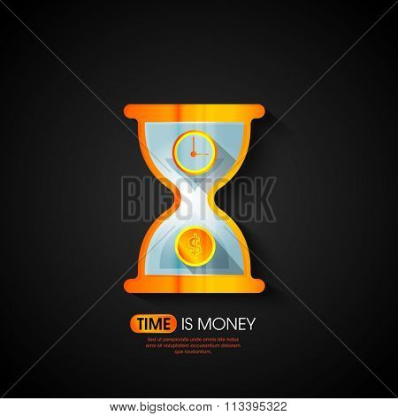 Creative shiny illustration of sand clock for Time is Money concept.