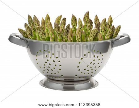 Fresh Asparagus In A Stainless Steel Colander