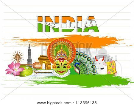 Glance of various Indian Cultures with tricolour text India on notebook paper background for Happy Republic Day celebration.