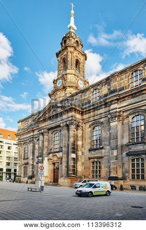 Dresden, Germany-september 08, 2015 :catholic Court Church(katholische Hofkirche).center Of The Dres