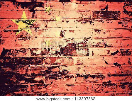 flag of China painted on brick wall