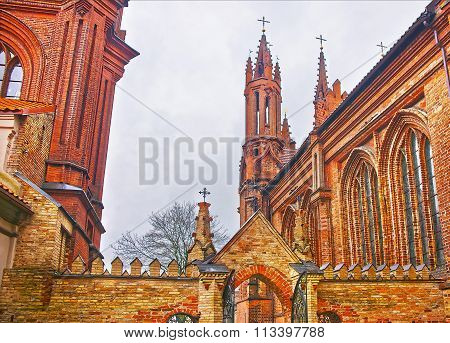 Fragment of Church of Saint Anna and Church of the Bernardine in Vilnius in Lithuania in winter