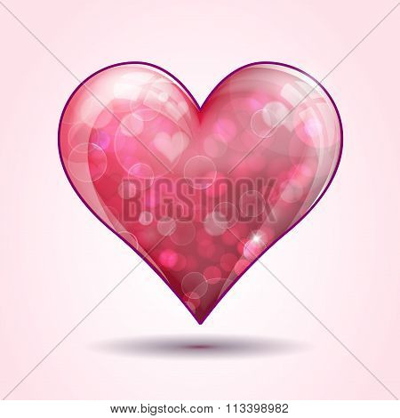 Glass Heart On Pink Background.