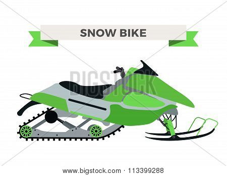 Vector winter snow motorcycle illustration. Snowmobile isolated on white background