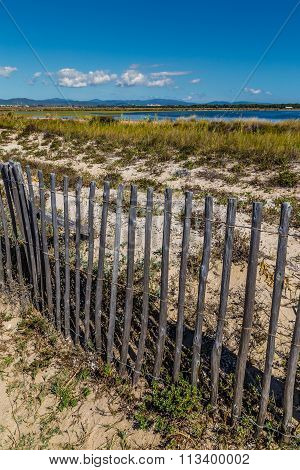 Fence On Giens Peninsula,salt Pan-hyeres,france