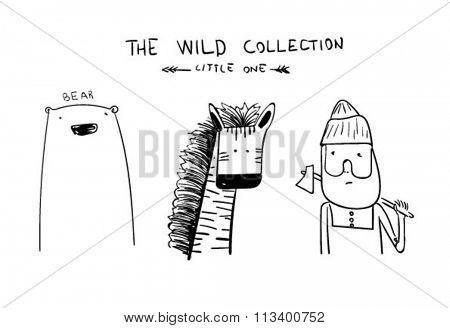 cartoon illustration camping ad bear, animals