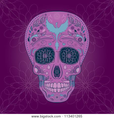Dia de Muertos Tattoo Skull Ornate Day of The Dead seamless pattern