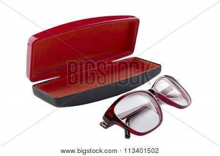 Spectacles and Case for glasses on a white background
