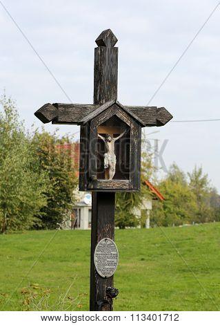 SIEPRAW, POLAND - OCTOBER 11, 2015: Old Wayside shrine in Siepraw near Cracow. Poland