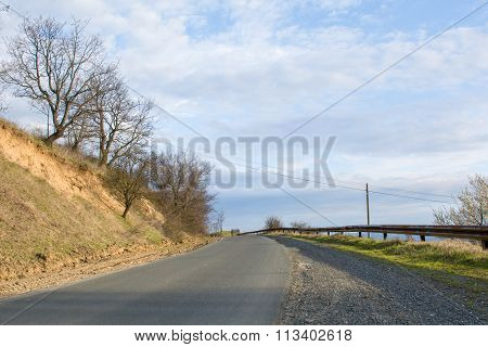 Asphalt rural road with trees and beautiful sky