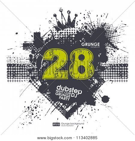 Grunge number print.  Grunge print for t-shirt. Abstract dirt backgrounds texture. Grunge banner with an inky dribble strip with copy space. Abstract background for party