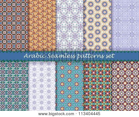 Arabic islamic seamless pattern set. Vector eps10