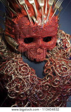 nightmare, bright red skull handmade fantasy warrior costume with gold and forms