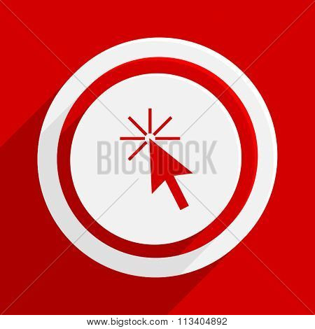 click here red flat design modern vector icon for web and mobile app