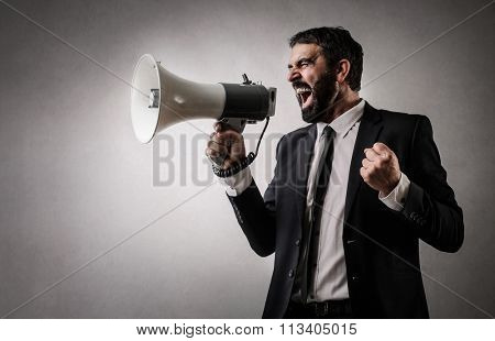 Fierce employee with a megaphone