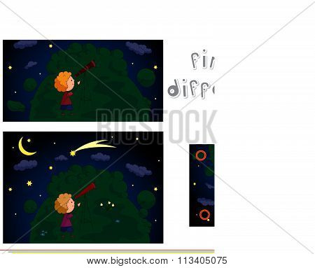 A Boy Watching The Stars With A Telescope In The Night Forest. Educational Game For Kids: Find Ten D