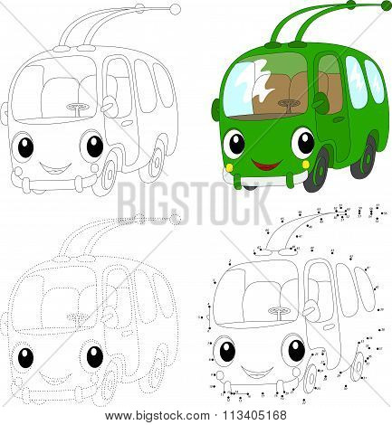 Cartoon Green Trolleybus. Vector Illustration. Dot To Dot Game For Kids