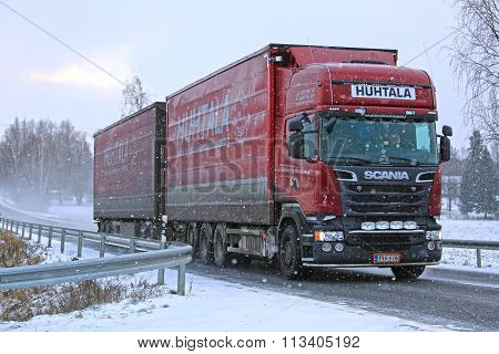 New Scania Cargo Truck In Snowfalll