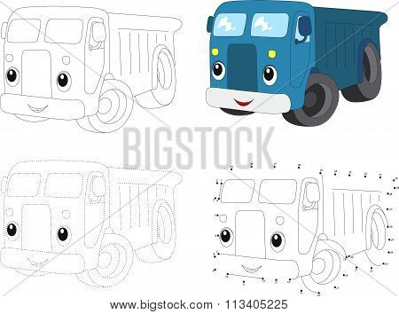 Cartoon Blue Lorry. Vector Illustration. Dot To Dot Game For Kids