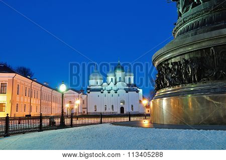 St.sophia Cathedral And The Monument Millennium Of Russia In Veliky Novgorod, Russia - Winter Night