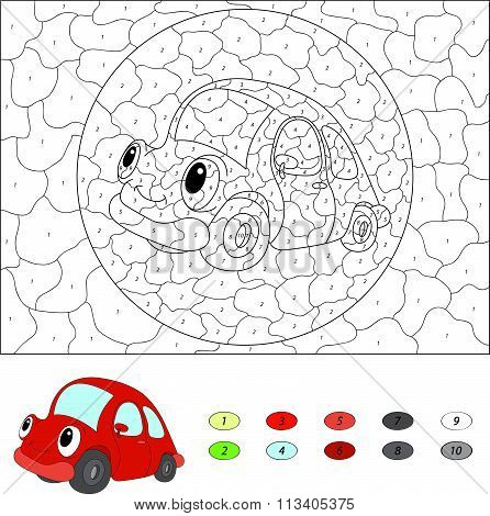 Color By Number Educational Game For Kids. Cartoon Red Car. Vector Illustration