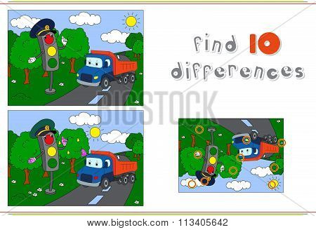 Traffic Light And Lorry On The Road. Educational Game For Kids: Find Ten Differences