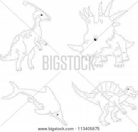 Set Of Parasaurolophus, Styracosaurus, Ichthyosaurus And Spinosaurus. Dot To Dot Educational Game Fo