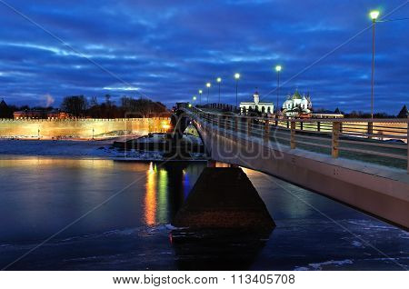 Novgorod Kremlin And St. Sophia Cathedral With Pedestrian Bridge In Veliky Novgorod, Russia - Night