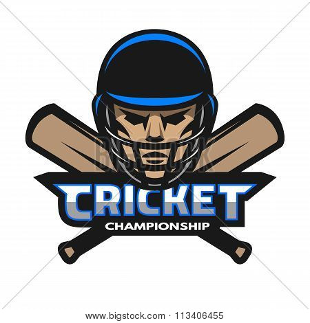 Cricket player and bats. Sport logo.