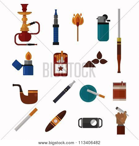 Smoking silhouette vector icons collection. Tabacco tools, sigarette, cigars, habit icons. Tabacco smoker tools icons vector. Cigars vector set, tabacco, nicotine. Health problems, smoke tools